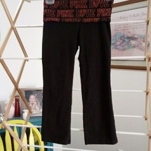 Pink yoga pants xs. Black with pink.